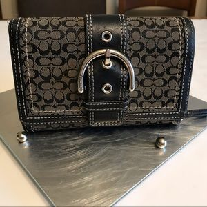 Coach Wallet Dark Brown Fabric Leather Clutch